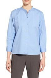 Women's Eileen Fisher Mandarin Collar Organic Cotton Shirt Bluebird