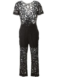 Msgm Floral Lace Semi Sheer Jumpsuit Black