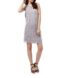 Miss Selfridge Emellished Feather Shift Dress Grey