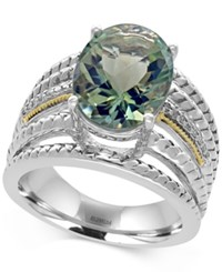 Effy Green Amethyst 5 Ct. T.W. And Diamond Accent Statement Ring In Sterling Silver And 18K Gold Two Tone