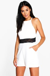 Boohoo Cutaway Shoulder Lace Trim Playsuit Ivory