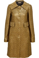 Michael Kors Studded Metallic Brocade Coat