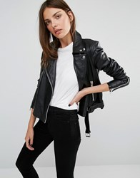 Y.A.S Ash Leather Jacket Black