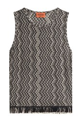 Missoni Fringed Sleeveless Top With Wool Black