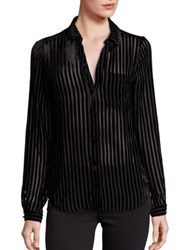 Paige Linara Striped Velvet Blouse Black