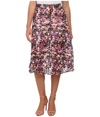 Sam Edelman Stripe Floral Embroidered Organza Midi Skirt Multi Women's Skirt