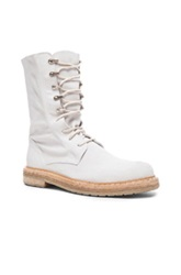 Ad Ann Demeulemeester Suede Lace Up Combat Boots In White