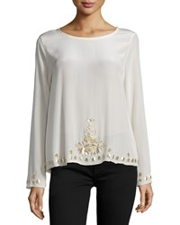 Nicole Miller Long Sleeve Embellished Top Cream Ivory