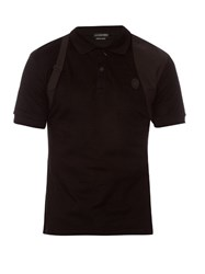 Alexander Mcqueen Harness Cotton Pique Polo Shirt Black
