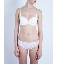 Chantelle Parisian Jersey And Stretch Lace Half Cup T Shirt Bra White