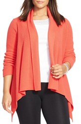 Plus Size Women's Lauren Ralph Lauren Cotton Rib Shawl Collar Cardigan Orange Deco Coral