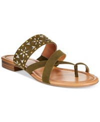 Styleandco. Style And Co. Behati Embellished Flat Sandals Only At Macy's Women's Shoes Army Green