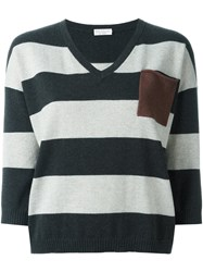 Brunello Cucinelli Striped Sweater Grey