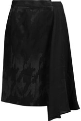 Maison Martin Margiela Asymmetric Embroidered Twill And Silk Chiffon Skirt Black