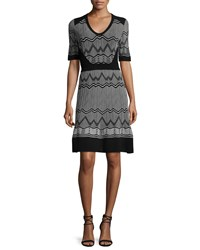 M Missoni Frequency Zigzag Half Sleeve Dress Black