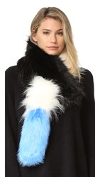 Charlotte Simone Popsicle Faux Fur Scarf Black White Blue