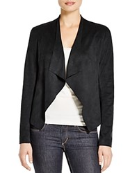 Prive Essential Drape Front Faux Suede Jacket Black