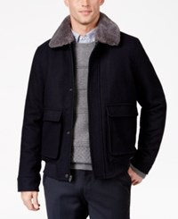 Tasso Elba Men's Dean Removable Faux Fur Collar Flight Jacket Only At Macy's Navy Combo