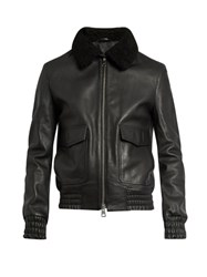 Ami Alexandre Mattiussi Shearling Collar Leather Jacket Black