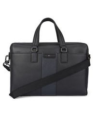 Tommy Hilfiger Black Safiano Pu Double Zip Briefcase