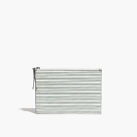 Madewell Leather Pouch Clutch In Pinstripe Vintage Canvas