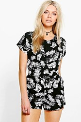 Boohoo Floral Print Capped Sleeve Playsuit Black