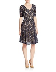 Gabby Skye Belted Lace Fit And Flare Dress Navy Nude