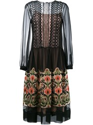 Alberta Ferretti Floral Embroidered Sheer Dress Black