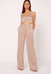 Missguided Satin Wide Leg Trousers Nude Cream