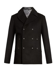 Kenzo Double Breasted Wool And Cashmere Blend Pea Coat Black