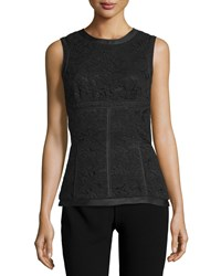 J. Mendel Sleeveless Lace Panel Top Noir Women's