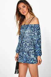 Boohoo Blue Paisley Off The Shoulder Playsuit Multi