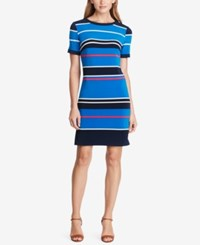 American Living Striped Jersey Dress Blue Black Pink