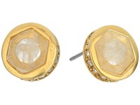 Lauren Ralph Lauren Match Point Round Stone Stud Earrings Crystal Gold Earring