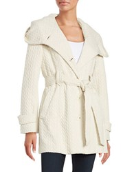 Gallery Belted Embossed Jacket Off White