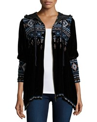 Johnny Was Tina Embroidered Zip Front Hoodie Women's Black