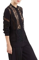 Topshop Sheer Lace Panel Shirt Black