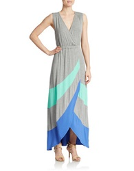 Spense Striped Surplice Maxi Dress Heather Grey