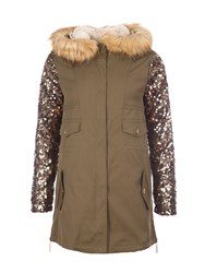 Relish Parka With Sequined Sleeves Green