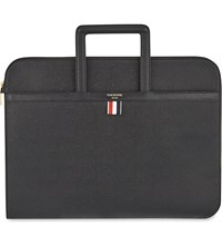 Thom Browne Leather Document Briefcase Black