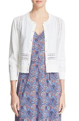 Women's Tory Burch 'Scarlet' Crochet Lace Detail Cardigan White