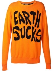Jeremy Scott 'Earth Sucks' Sweater Yellow And Orange