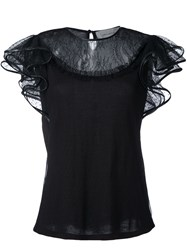 Amen Lace Shortsleeved Top Black