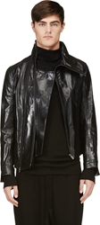 D.Gnak By Kang.D Black Assymetrical Leather Jacket
