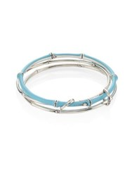 John Hardy Bamboo Multi Row Enamel And Sterling Silver Bangle Bracelet Blue Silver