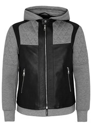 Neil Barrett Layered Leather And Neoprene Jacket Black And Grey
