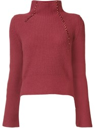 Derek Lam 10 Crosby Turtle Neck Jumper Pink Purple