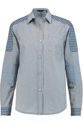 Marc By Marc Jacobs Check Panelled Cotton Poplin Shirt Blue