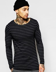 Asos Extreme Muscle Stripe Long Sleeve T Shirt With Boat Neck Blackcharcoal