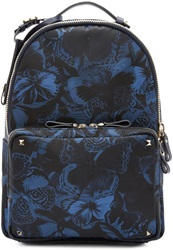Valentino Blue Butterfly Camouflage Medium Backpack